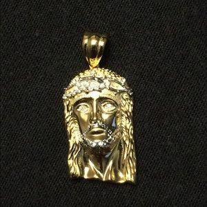 Gold Vermeil Jesus Piece Pendant Charm .925 Silver